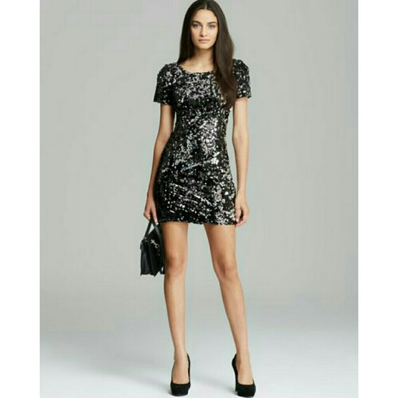 910b1844 Milly Black Short Sleeve Stretch Sequin Dress. M_5b312ccd8ad2f994c67ab869